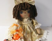 Primitive Raggedy Ann doll Halloween Fall Basket Folk Art