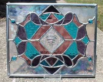 Stained Glass Panel in Bright Blue, Red Violet Purple and Plum Purple