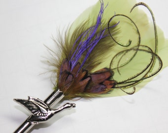 "Feather Lapel Pin, Boutonniere, Hat Pin Brooch ""Autumn"" -green, purple, and  cocoa feathers with silver toned duck pin base"