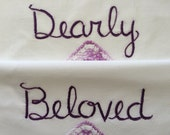 Dearly Beloved, Prince Tribute, Pillowcases, Hand embroidered, Boho bedroom, Orlando, Purple decor, Wedding gift, Pride