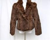 50% Off Sale Dark Brown Rabbit Jacket size Small Medium 80s Rabbit Coat Genuine Fur