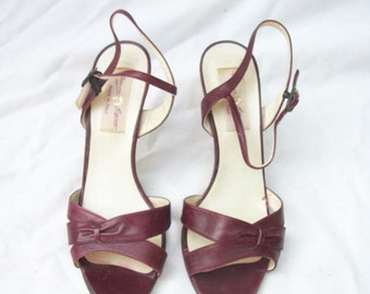SALE 70s Aigner Strappy Sandals size 6.5 Made in Italy Stiletto Heels Oxblood Sandals