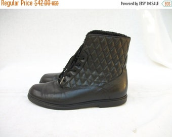 50% Off Sale Black Leather Ankle Boots size 6.5 to 7 Quilted Fur Lined Boots