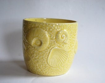 Vintage Potter Planter, Yellow, Beach, Made in Japan