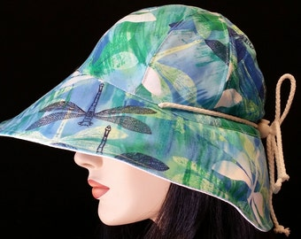 Reversible Cottage Hat Wide Brim Sun Hat in blue dragonfly print with adjust fit plus chinstrap for boating/convertibles/windy days