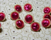 Shabby Sweet Antique Buttons - Diminutive Celluloid with Hot Pink Domed Tops - Unusual