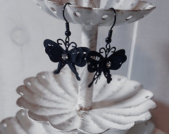Black butterfly filigree earrings