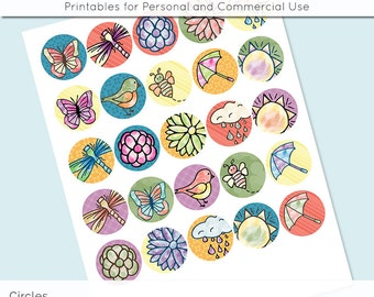 """Digital Collage Sheets Spring Bright Colorful  1 inch 1.25"""" and 1.5"""" Circles Printable Download for Pendant Magnet Bottle Cap Crafts JPG"""