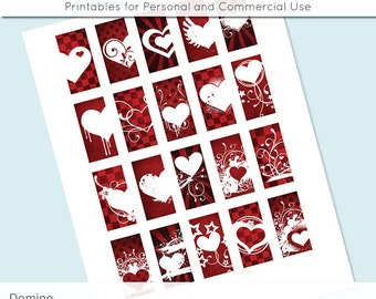 Valentines Red Heart 1x2 Digital Collage Sheet Domino Images for Domino Pendants Magnets Scrapbooking Journaling JPG D0034