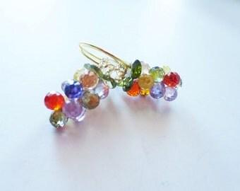Multicolor earrings. Crystal grape earrings. Cubic zirconia earrings. Grape cluster earrings. Crystal earrings. Fruit earrings.