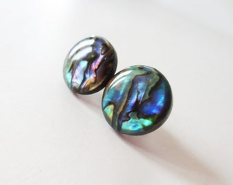 Natural paua shell earrings.  Abalone jewelry.  Stud post style earrings.  Extra large size. 15mm earrings.