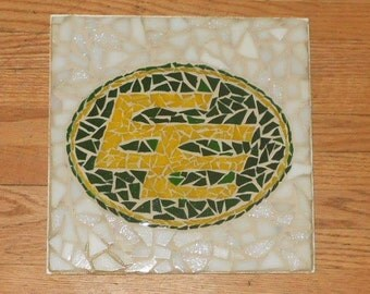Vintage  EDMONTON ESKIMOS CFL -  Handcrafted Collectible  Mosaic Sports Wall Decor.  Free Shipping