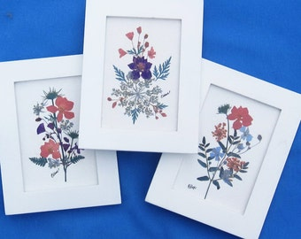 Trio of pressed flowers for feminine bedroom, 3.5x5,
