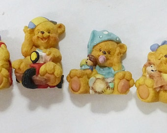 Vintage teddy bears refrigerator magnets set of 6