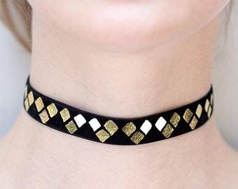 Holiday gift sale Choker necklace, Trio print,  black velvet necklace, Birthday gift
