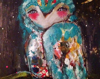 Starry Night - an Original Mixed Media Painting 11x14 by Juliette Crane