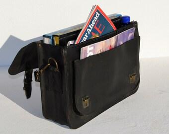 Handmade black leather briefcase laptop bag messenger bag bookbag from Greece