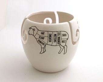 Sheep yarn bowl , knit bowl , lamb , wool sheep , knitting bowl , gift for knitter, parts of a sheep, crochet, XL large ceramic yarn bowl
