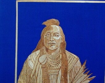 American Indian chief portrait handmade with rice straw! Have U seen ancient rice straw art? Native American chief in straw art unique art