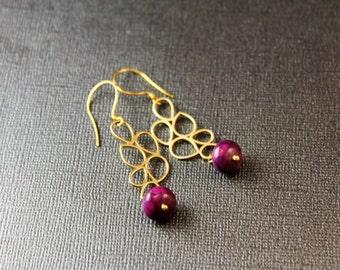The Bubble Motif Purple Jade Earrings