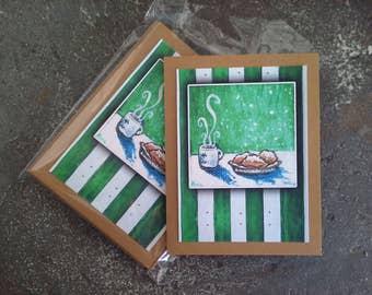 Cafe du Monde New Orleans beignet Note Cards set of 5 blank w envelopes