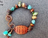 Boho Chic Pewter Tribal Influenced Gemstone Bracelet, Copper Lampwork Glass and Turquoise Rust Colored Pewter Bar Bracelet