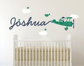 Airplane Nursery Wall Art Decal Boy Skywriter Baby Nursery Kids