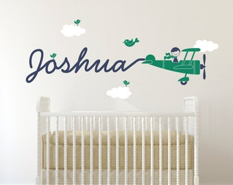Airplane Name Decal Boy Skywriter Baby Nursery Travel Theme Removable Vinyl Wall Sticker Personalized