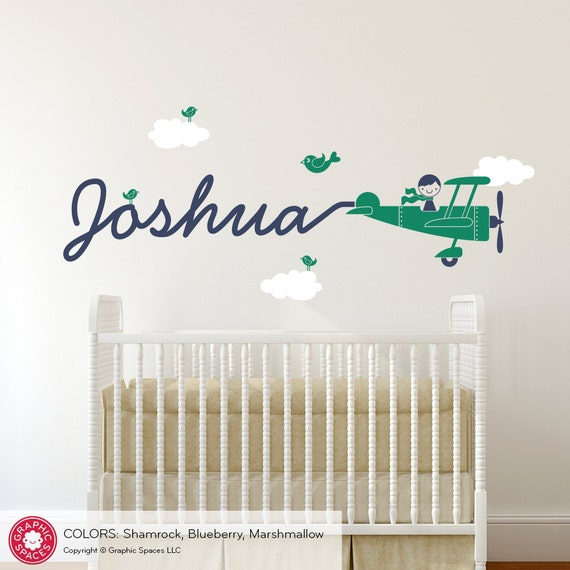 Airplane Name Decal Boy Skywriter Baby Nursery Travel Theme Removable Vinyl Wall Sticker Personalized Baby