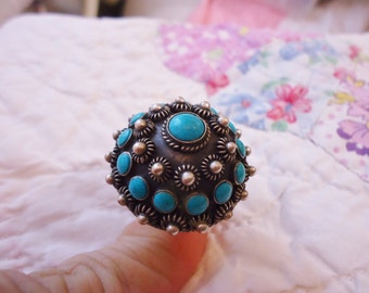 Estate Vintage Sterling/Turquoise Signed Taxco Mexico Large Ornate Dome Ring