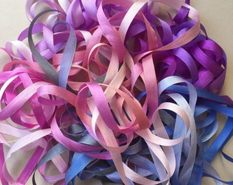 Boysenberry Mix - 14 metres of 7mm silk ribbon