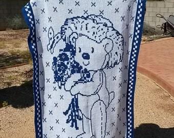 Baby Blanket Boy White Blue Bear