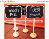 On SALE- 4 Mini Chalkboard Table Stands-FANCY Style-Buffet Labels, Chalkboard Signs, Wedding Chalkboards, Chalkboard Label Stands