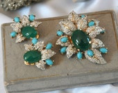 Vintage Jomaz Brooch Earrings in Original Neiman Marcus Box, Pave Crystals, Glass Turquoise & Chrysoprase Cabs, Fine Quality, Excellent Cond