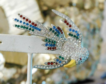 Vintage Bird Brooch, Swallow, Multi-Color Rhinestone Set Pavé Style, Flying & Swooping, Excellent Condition