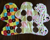 """Set of Three 11"""" Heavy Flow Postpartum Reusable Cloth Pad ~ Retro Dot, Pink and Lime Dot, and Garnet Minky ~ by Talulah Bean"""