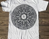 Mandala Bike Wheel - Unisex Silver Gray American Apparel T Shirt