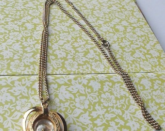 VINTAGE Swiss Roland Brand 17 Jewels Modernist  Working and WindUp Watch Pendant Necklace Gold Plated
