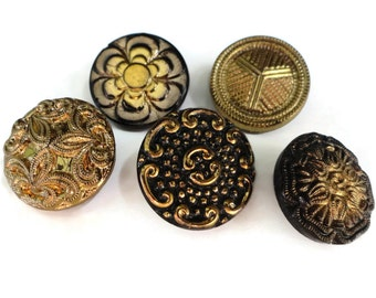 Antique Glass Buttons - Vintage 1940s Black Gold 3/4 inch 19 mm for Jewelry Supplies Beads Sewing Notions Knitting