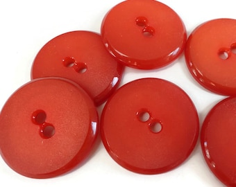 Cherry Red Vintage Buttons - 6 Mid Century French Plastic Large 1.1/8 inch Sew Through Coat Jacket Blazer