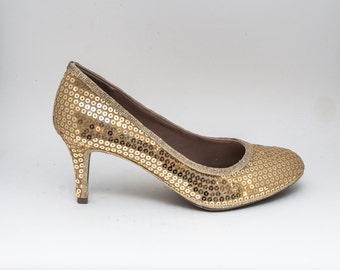 Sequin | Gold 3 Inch High Heels Pumps by Princess Pumps