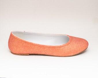 Glitter | Melon Orange Ballet Flat Slipper Shoes
