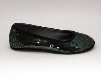 Sequin | Forest Green Ballet Flats Slippers Shoes