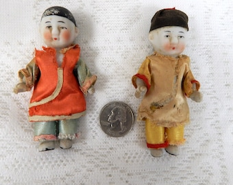 2 Oriental Miniature China Dolls from the 1930s