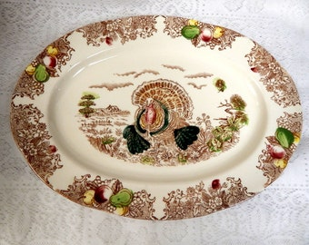 Vintage  Turkey Platter 16 1/4 in by 12 in.  Colorful Transfer