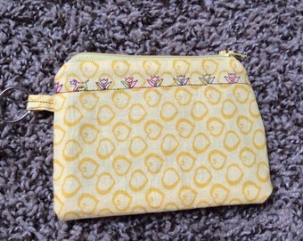Yellow, Hearts, Zippered pouch, Coin Purse
