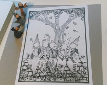 "Color Poppets - Coloring Page (Digital Download)  ""Autumn and Other Friends""  - Lisa Snellings"