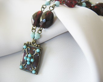 Beaded Pendant Necklace Victorian Goth Deep Red Turquoise Brass Antique Style