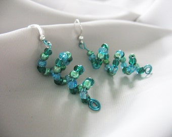 Spiral Coil Earrings Beaded Glass Turquoise Green Blue Dangle