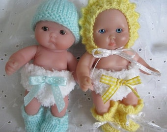 Knit Berenguer Chubby Baby Doll Nappy Newbron Diaper Sets for Itty Bitty 5 inch Doll Clothes Only